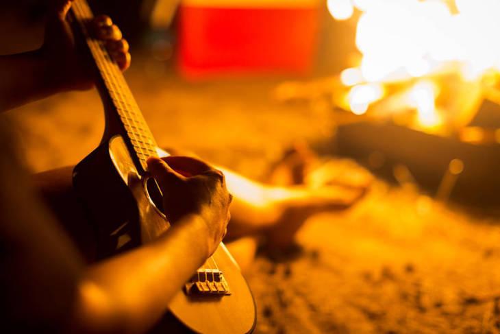 camping with ukelele